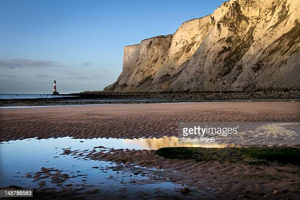edge of land - beachy head stock photos and pictures
