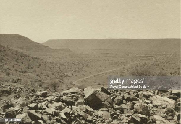 Edge of plateau with long ridge alTaif Hijaz Saudi Arabia Artist George Rendel