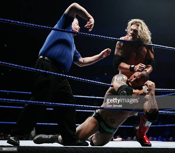 Edge takes on Batista during the WWE Smackdown at Acer Arena June 15 2008 in Sydney Australia
