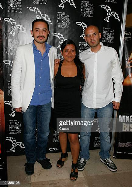 Edher Campos Monica del Carmen and Rodrigo Bello pose for the camera during the presentation of the Mexican film Leap Year as part of the second...