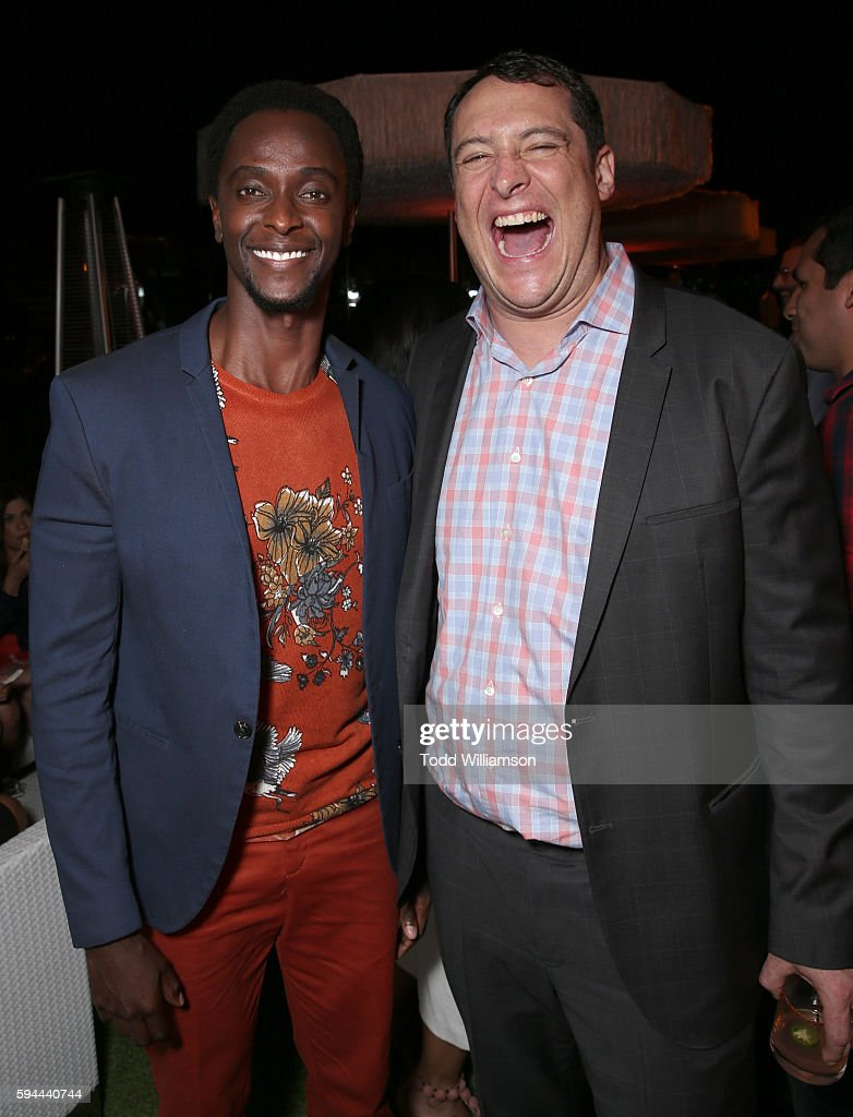 Edi Gathegi and Crackle Vice President Head of Digital Development John Orlando attend the after party for the premiere pf Crackle's 'Startup' on August 23, 2016 in Los Angeles, California.