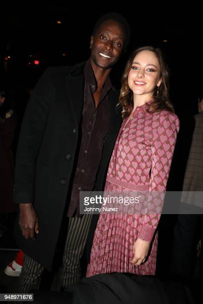 Edi Gathegi and Haley Ramm attend the 'Pimp' Private Screening at Regal Battery Park Cinemas on April 19 2018 in New York City