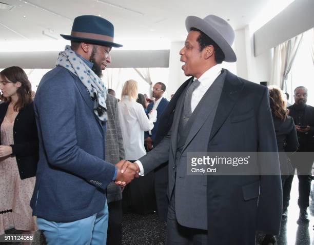 Edi Gathegi and JayZ attend Roc Nation THE BRUNCH at One World Observatory on January 27 2018 in New York City
