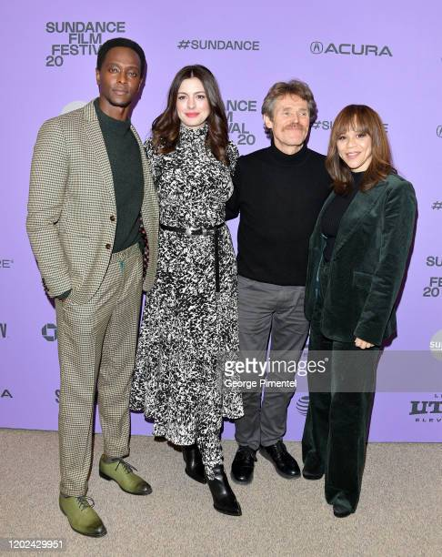Edi Gathegi Anne Hathaway Rosie Perez and Willem Dafoe attend The Last Thing He Wanted premiere at Eccles Center Theatre on January 27 2020 in Park...