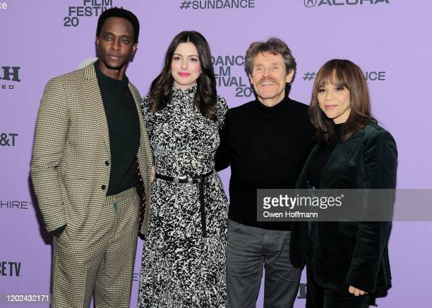 Edi Gathegi Anne Hathaway Rosie Perez Willem Dafoe attend the Netflix The Last Thing He Wanted Premiere at Eccles Center Theatre on January 27 2020...