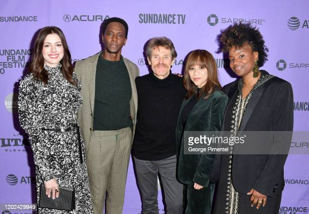 Edi Gathegi Anne Hathaway Tamarkali Rosie Perez and Willem Dafoe attend The Last Thing He Wanted premiere at Eccles Center Theatre on January 27 2020...