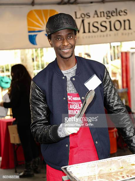 Edi Gathegi is seen at the annual Los Angeles Mission Christmas Dinner on December 24 2015 in Los Angeles California
