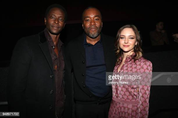 Edi Gathegi Lee Daniels and Haley Ramm attend the 'Pimp' Private Screening at Regal Battery Park Cinemas on April 19 2018 in New York City