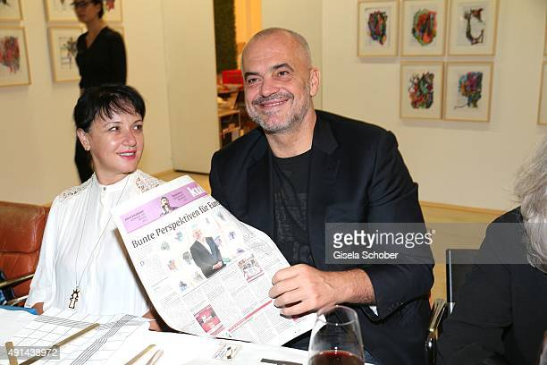 Edi Rama, Prime Minister of Albania and his wife Linda Rama during the Edi Rama - Daily Drawings exhibition preview at Galerie Kampl on September 12,...
