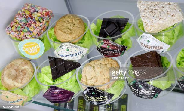 Edible cannabis products are displayed at Essence Vegas Cannabis Dispensary before the midnight start of recreational marijuana sales on June 30 2017...