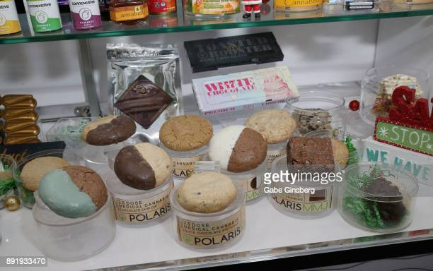 Edible cannabis products are displayed during a meet and greet to introduce Cheech Marin's new line of cannabis products at Essence Vegas Cannabis...