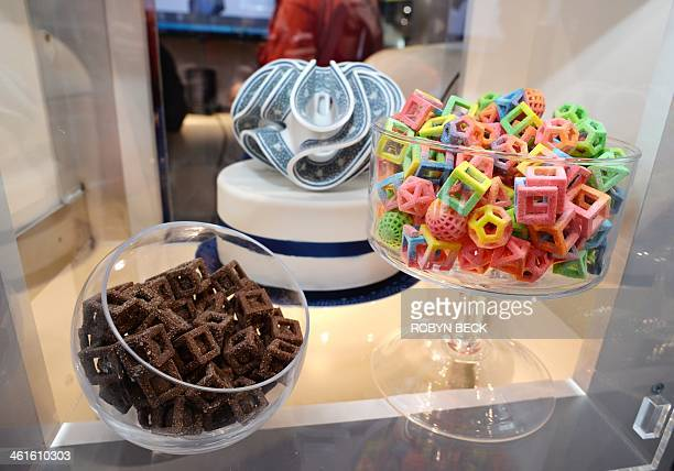 Edible confections made in the 3D Systems ChefJet Pro 3D food printer are displayed at the 2014 International CES January 9 2014 in Las Vegas Nevada...