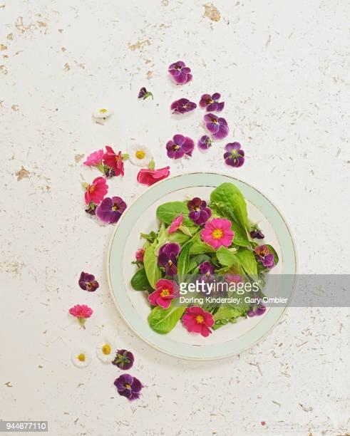 edible flowers salad overhead