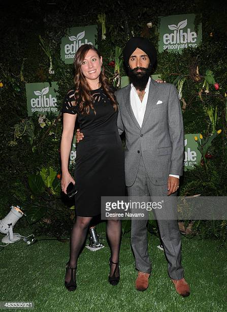 Edible Schoolyard NYC executive director Kate Brashares and Waris Ahluwalia attend the 2014 Edibile Schoolyard NYC Spring Gala at 23 Wall Street on...