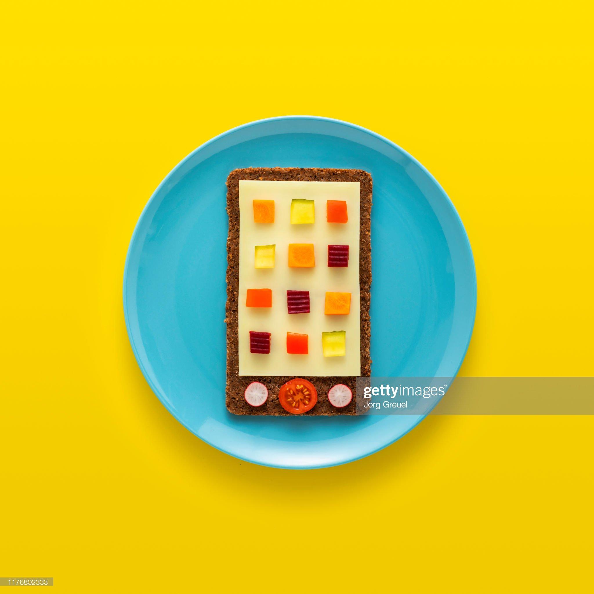 Edible smartphone on plate : Stock Photo