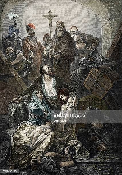 allegory of expulsion of jews from spain 1492 Engraving 19th century Private collection ©The Holbarn Archive/Leemage