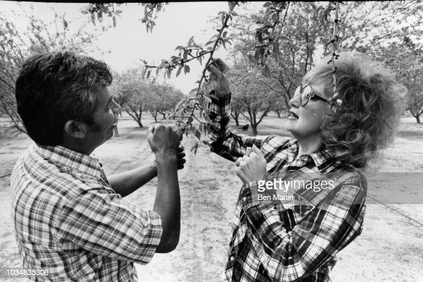 Edie Adams comedienne and singer examining an almond tree with a farm worker on her almond ranch in Bakersfield March 26 1982
