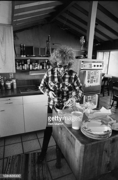Edie Adams comedienne and singer in the kitchen of her home on an almond ranch in Bakersfield March 26th 1982