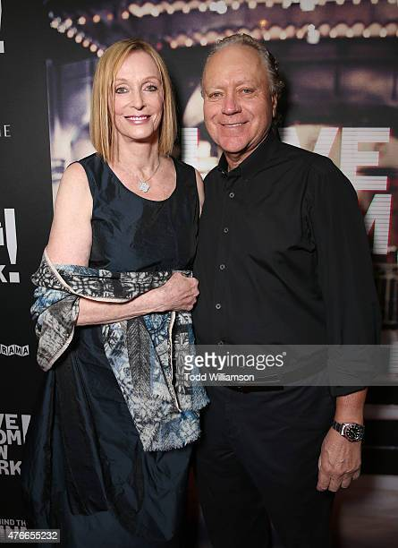 Edie Baskin and guest attend the premiere Of Abramorama's Live From New York Red Carpet at Landmark Theatre on June 10 2015 in Los Angeles California