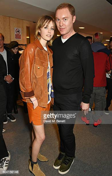 Edie Campbell and COACH Creative Director Stuart Vevers attend the Coach FW16 show front row during London Collections Men at The Lindley Hall on...