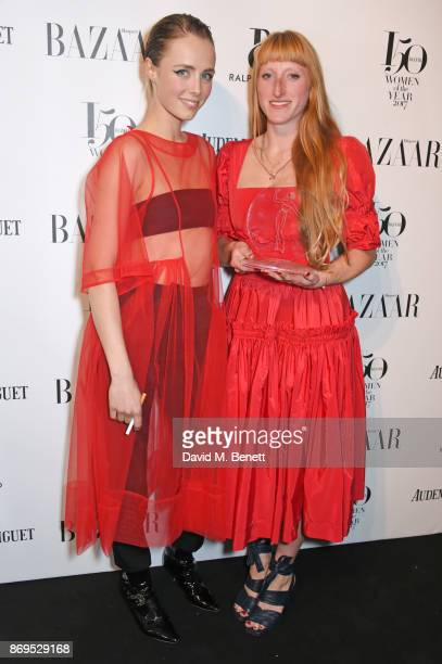 Edie Campbell and Molly Goddard winner of the Breakthrough Designer Award attend Harper's Bazaar Women of the Year Awards in association with Ralph...