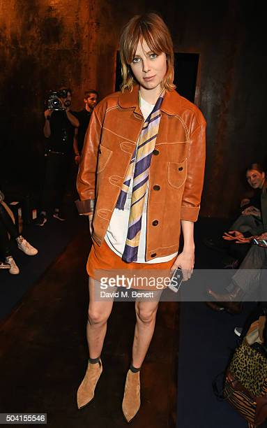 Edie Campbell attends the Coach FW16 show front row during London Collections Men at The Lindley Hall on January 9 2016 in London England