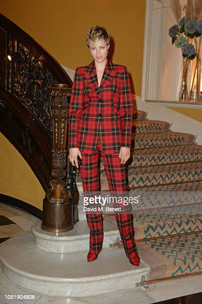 Edie Campbell attends the Michael Kors cocktail party to celebrate the collaboration with David Downton at Claridge's Hotel on October 11 2018 in...