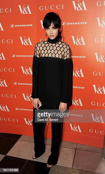 Edie Campbell attends the private view for the 'David Bowie Is' exhibition in partnership with Gucci and Sennheiser at the Victoria and Albert Museum...