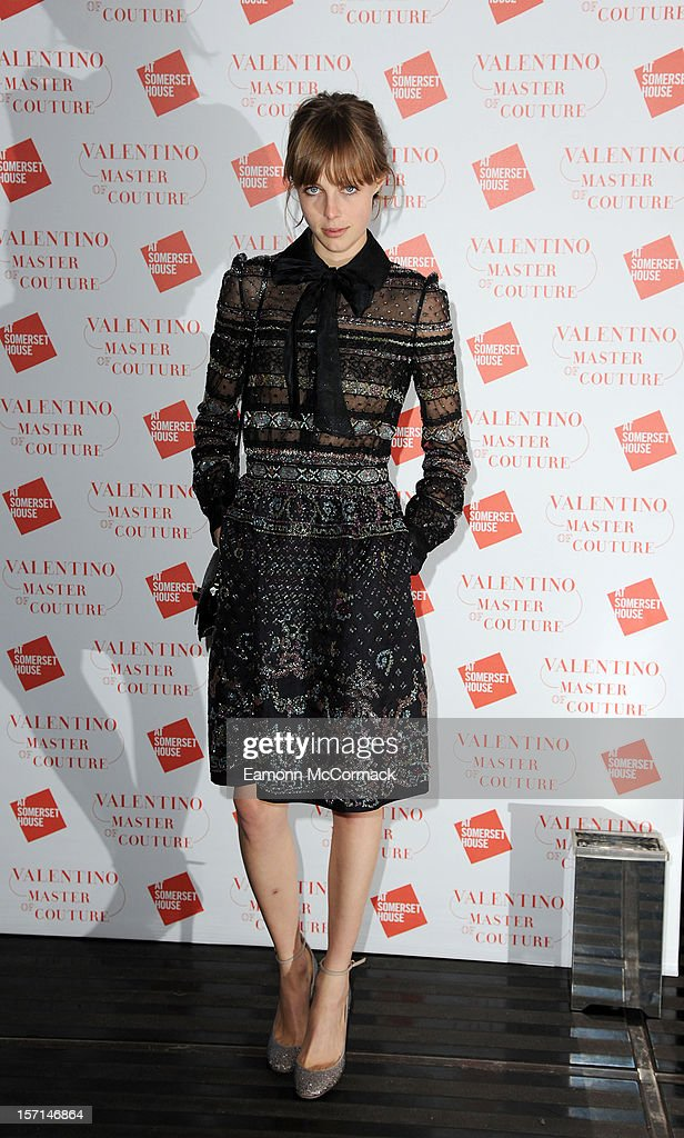 Edie Campbell attends the VIP view of Valentino: Master of Couture at Embankment Gallery on November 28, 2012 in London, England.