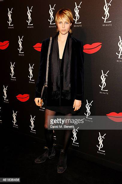 Edie Campbell attends the YSL Beaute Makeup Celebration 'YSL Loves Your Lips' in the presence of Cara Delevingne at The Boiler House, The Old Truman...
