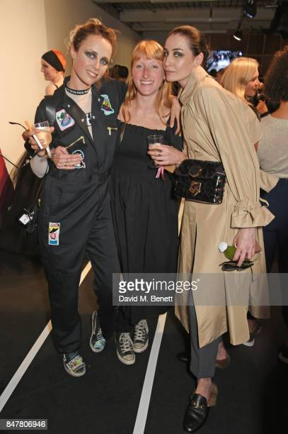 Edie Campbell Molly Goddard and Erin O'Connor pose backstage at the Molly Goddard SS18 catwalk show during London Fashion Week September 2017 at BFC...