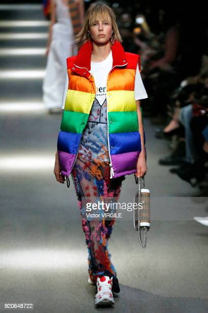 Edie Campbell walks the runway at the Burberry Ready to Wear Fall/Winter 20182019 fashion show during London Fashion Week February 2018 on February...
