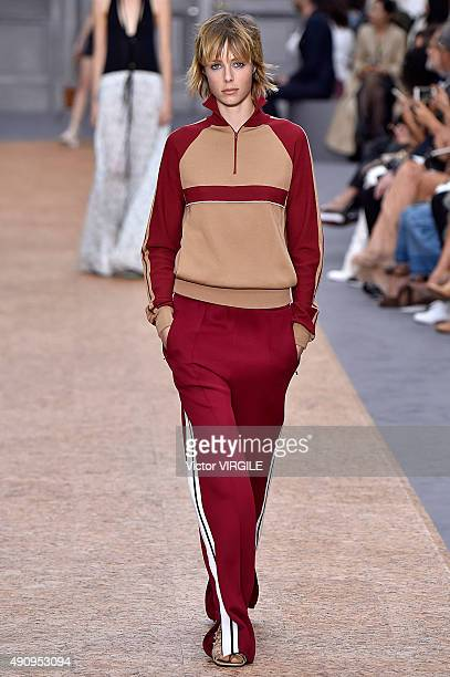 Edie Campbell walks the runway during the Chloe Ready to Wear show as part of the Paris Fashion Week Womenswear Spring/Summer 2016 on October 1, 2015...