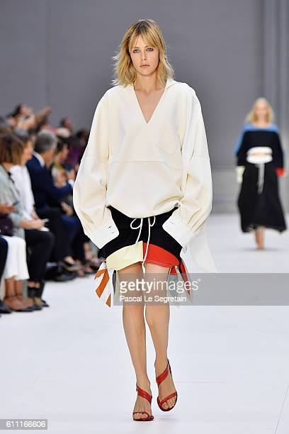 Edie Campbell walks the runway during the Chloe show as part of the Paris Fashion Week Womenswear Spring/Summer 2017 on September 29 2016 in Paris...