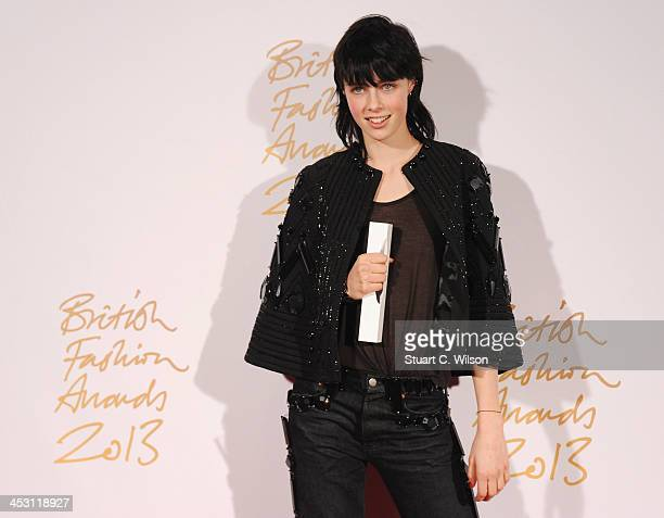 Edie Campbell with the Award for Model of the Year poses in the winners room at the British Fashion Awards 2013 at London Coliseum on December 2 2013...