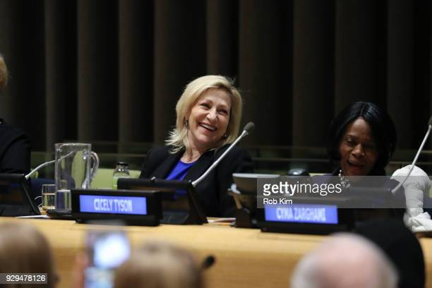 Edie Falco and Cicely Tyson attend International Women's Day The Role of Media To Empower Women Panel Discussion at the United Nations on March 8...