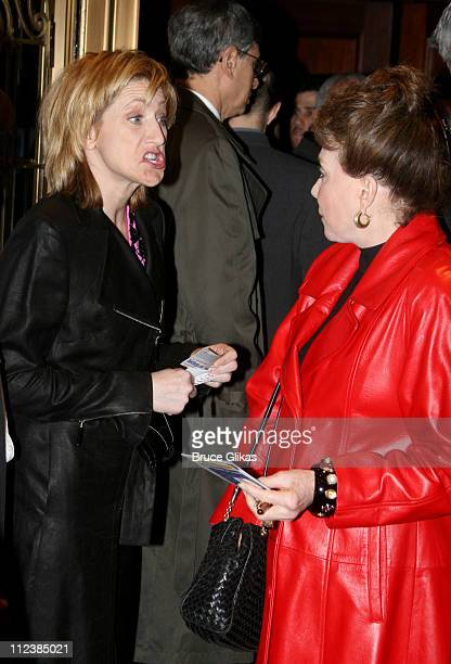 Edie Falco and Cindy Adams during Festen Broadway Opening Night Arrivals at The Music Box Theater in New York City New York United States