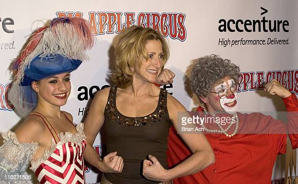 Edie Falco and 'Grandma the Clown' during 2005 Big Apple Circus Opening Night Gala Benefit at Damrosch Park Lincoln Center in New York City New York...