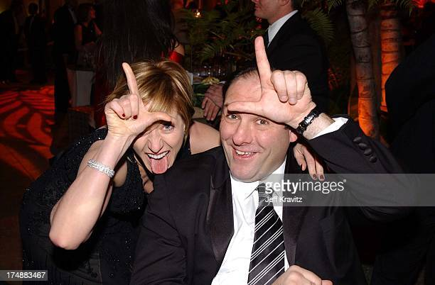 Edie Falco and James Gandolfini during HBO Golden Globe Party 2001 in Beverly Hills California United States