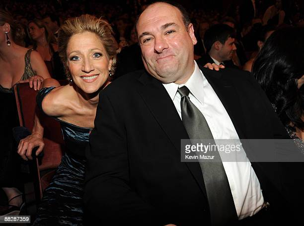 NEW YORK JUNE 07 *EXCLUSIVE* Edie Falco and James Gandolfini in the audience at the 63rd Annual Tony Awards at Radio City Music Hall on June 7 2009...