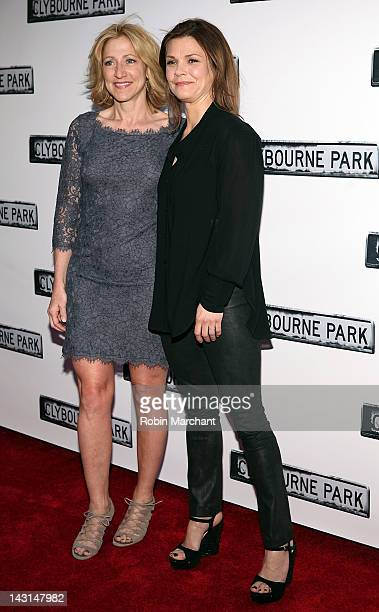 Edie Falco and Katherine Erbe attend the Clybourne Park Broadway opening night at Walter Kerr Theatre on April 19 2012 in New York City