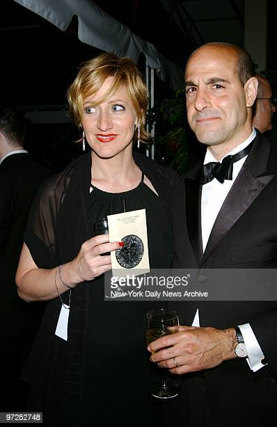 Edie Falco and Stanley Tucci get together at party in Rockefeller Center following the Tony Awards ceremony