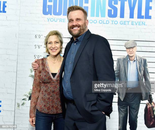 Edie Falco and Stephen Wallem attend the Going In Style New York Premiere at SVA Theatre on March 30 2017 in New York City