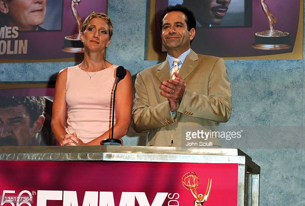 Edie Falco and Tony Shalhoub during 56th Annual Primetime Emmy Award Nominations Announcement at ATAS' Leonard H. Goldenson Theatre in North...