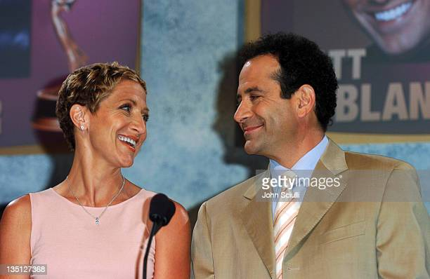 Edie Falco and Tony Shalhoub during 56th Annual Primetime Emmy Award Nominations Announcement at ATAS' Leonard H Goldenson Theatre in North Hollywood...
