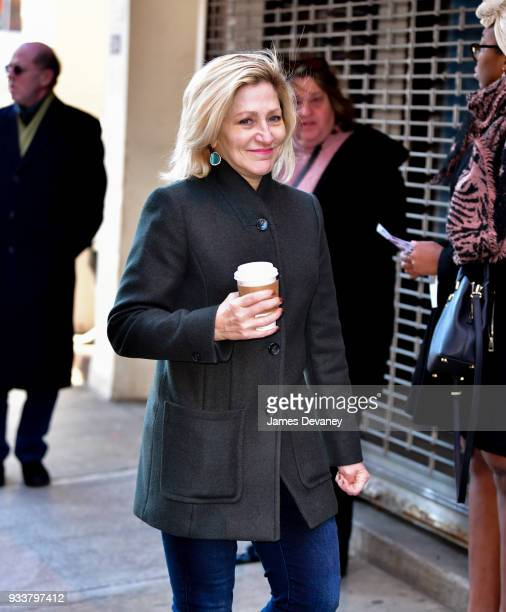 Edie Falco arrives to the opening night of Harry Clarke at Minetta Lane Theatre on March 18 2018 in New York City