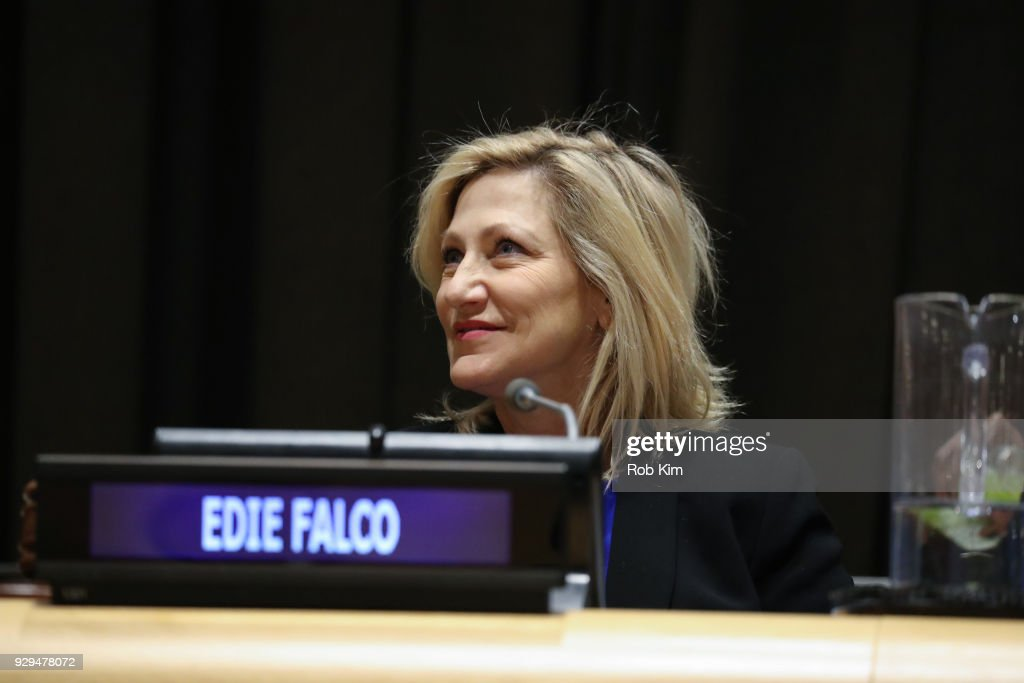 Edie Falco attends International Women's Day The Role of Media To Empower Women Panel Discussion at the United Nations on March 8, 2018 in New York City.