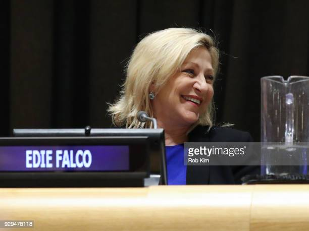 Edie Falco attends International Women's Day The Role of Media To Empower Women Panel Discussion at the United Nations on March 8 2018 in New York...
