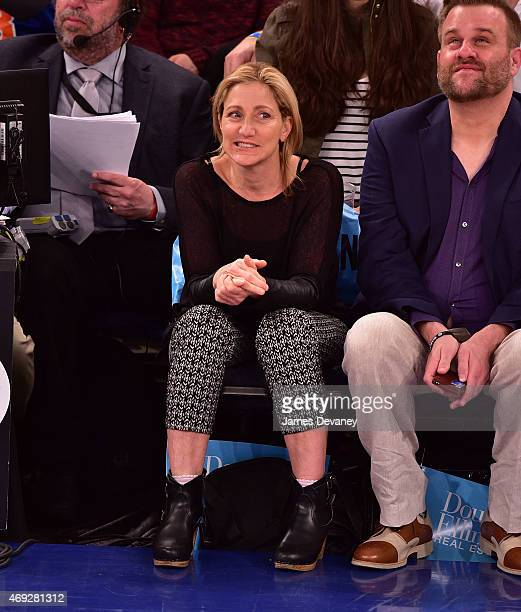 Edie Falco attends Milwaukee Bucks vs New York Knicks game at Madison Square Garden on April 10 2015 in New York City