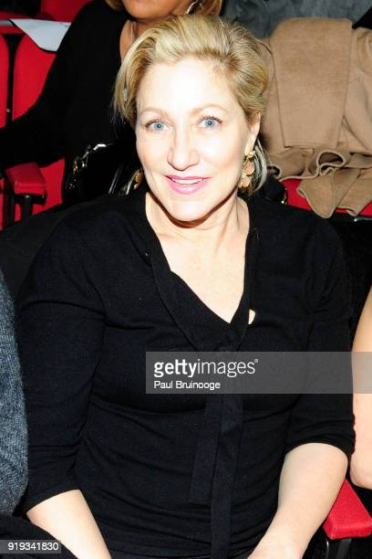 Edie Falco attends The Cinema Society with Ravage Wines Synchrony host a screening of Marvel Studios' 'Black Panther' at The Museum of Modern Art on...